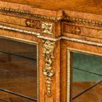 Mid Victorian burr walnut display cabinet details