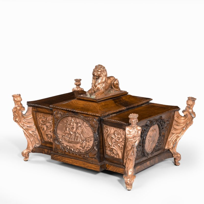 A large ornamental casket made from the oak and copper of HMS Foudroyant main