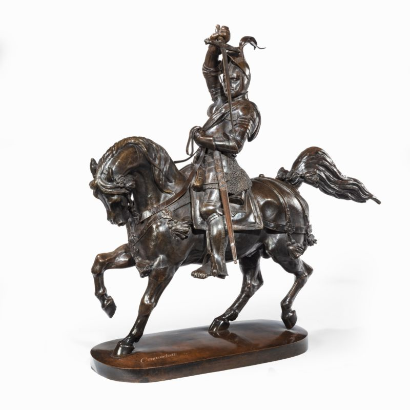 An Italian bronze equestrian sculpture of Emanuele Filiberto, Duke of Savoia, by Baron Carlo Marochetti