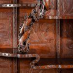 A superb monumental Meiji period hard wood display cabinet, by Noguchi of Yokahama closeup