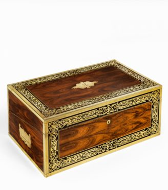 A superb William IV brass-inlaid kingwood writing box by Edwards
