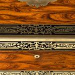 William IV brass-inlaid kingwood writing box by Edwards close up lock