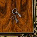 William IV brass-inlaid kingwood writing box keys