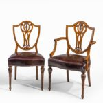 eight late Victorian Hepplewhite Revival mahogany dining chairs pair