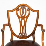 Set of eight late Victorian Hepplewhite Revival mahogany dining chairs details