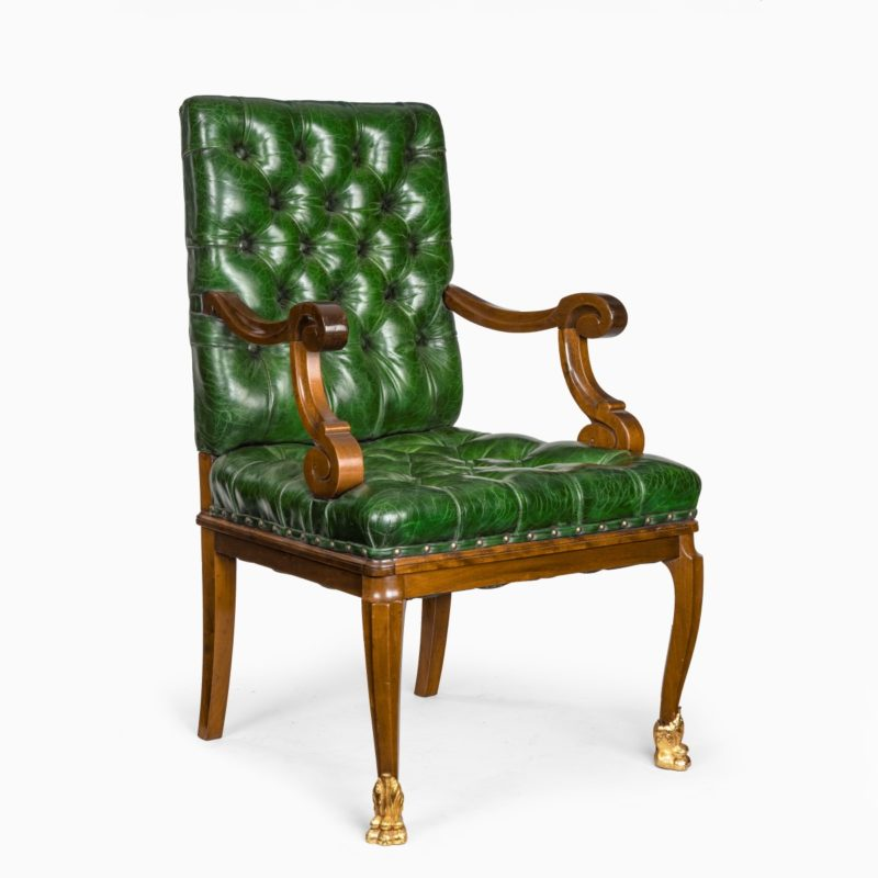 A French mahogany desk chair