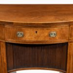 fine pair of George III figured mahogany side cabinets, in the manner of Thomas Sheraton handles