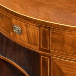 fine pair of George III figured mahogany side cabinets, in the manner of Thomas Sheraton detail