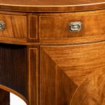 fine pair of George III figured mahogany side cabinets, in the manner of Thomas Sheraton details