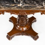 Anglo-Indian mahogany table with Nero portoro marble top by White and Co Calcutta, all on an X-shaped base with scroll feet