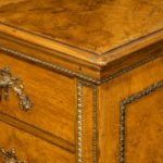 A fine George IV burr oak chest of drawers in the manner of Morel and Seddon detail