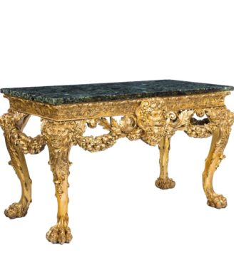 Victorian gilt wood console table in the manner of William Kent main