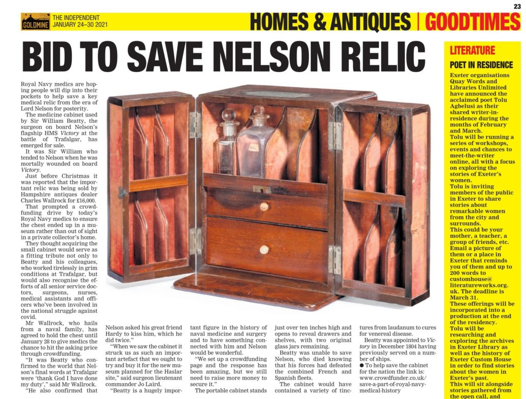The Independent - Gold Mine - Homes & Antiques - Bid to Save Nelson Relic