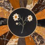A mid-Victorian walnut and pietra dura top detail