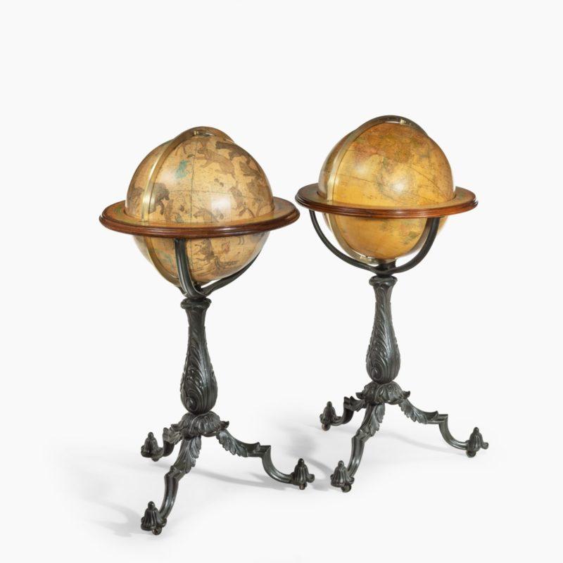 A Pair of 16-inch floor standing globes by Gilman Joslin,