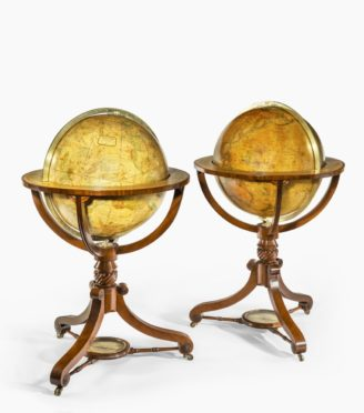 A pair of 20-inch floor globes by Newton and Sons