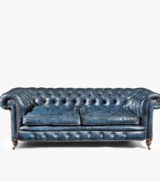 A Victorian 2-seater leather Chesterfield sofa