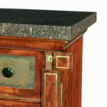 A late Regency brass-inlaid mahogany Wellington chest front lock