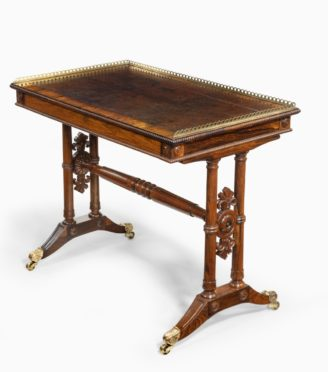 A William IV rosewood free-standing end support table attributed to Gillows