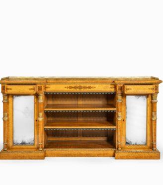 A Regency birds eye maple open bookcase main