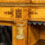 Regency birds eye maple open bookcase detail
