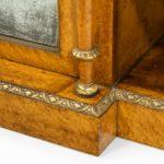 Regency birds eye maple open bookcase corner detail