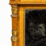 Regency birds eye maple open bookcase corner