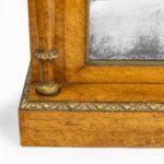 Regency birds eye maple open bookcase corners