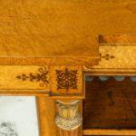 Regency birds eye maple open bookcase