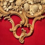 An exceptional carved lime and soft wood plaque by the carver James Peake close up