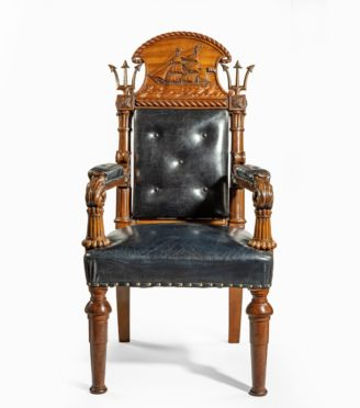 A large and imposing Regency nautical chair made for the Alliance insurance company