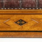 A Victorian walnut Ottoman in the Aesthetic style detail shot