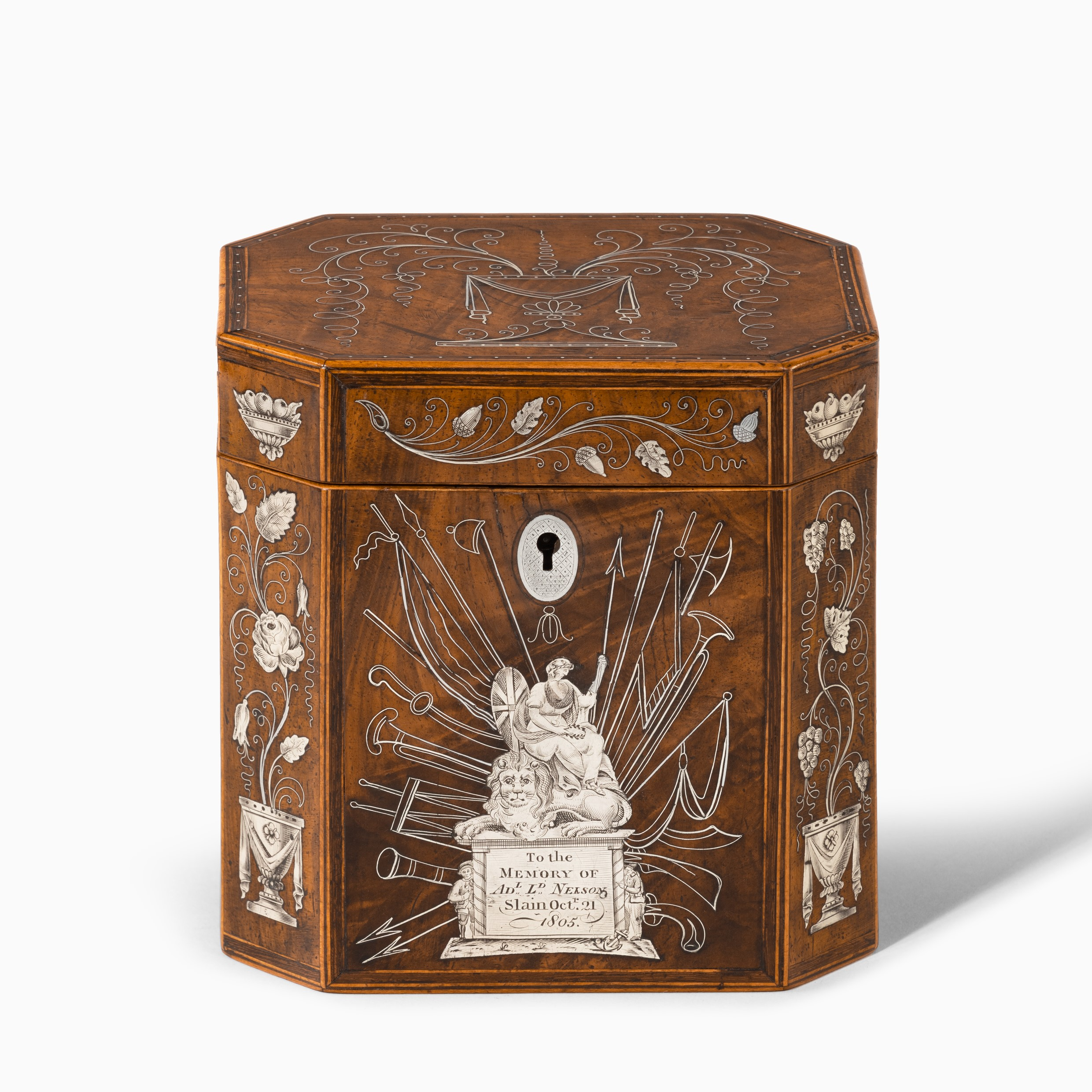 A silver-inlaid caddy commemorating the death of Admiral Lord Nelson