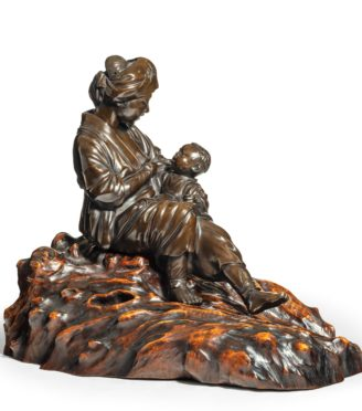 A Meiji period bronze sculpture of a mother and son by Atsuyosh