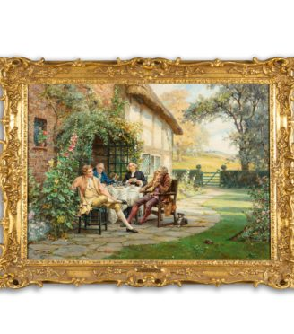 'Tea at the Vicarage' by Margaret Dovaston, dated 1952, an oil painting showing four gentlemen having an earnest conversation over a cup of tea on a terrace outside a cottage garden, Margaret Dovaston, dated 1952. English. H 20in W 27 in £14,500 Margaret Isabel Dovaston (1884 – 1954) was a British artist who became particularly well known for her historical genre scenes, often depicting groups in Georgian costume. In the course of her education, she was taught by Thomas William Cole at the Ealing School of Art and Arthur Stockdale Cope at the South Kensington School of Art. Her crowning achievement was winning a five-year scholarship the to the Royal Academy Schools (1903-1908) where she won many medals. She exhibited at the Royal Academy (1908 and 1910) and helped set up The Ealing Art Guild (1911)