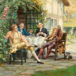 'Tea at the Vicarage' by Margaret Dovaston, dated 1952, an oil painting showing four gentlemen having an earnest conversation over a cup of tea on a terrace outside a cottage garden, Margaret Dovaston, dated 1952. English. H 20in W 27 in £14,500 Margaret Isabel Dovaston (1884 – 1954) was a British artist who became particularly well known for her historical genre scenes, often depicting groups in Georgian costume. In the course of her education, she was taught by Thomas William Cole at the Ealing School of Art and Arthur Stockdale Cope at the South Kensington School of Art. Her crowning achievement was winning a five-year scholarship the to the Royal Academy Schools (1903-1908) where she won many medals. She exhibited at the Royal Academy (1908 and 1910) and helped set up The Ealing Art Guild (1911) up close