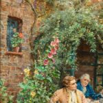 'Tea at the Vicarage' by Margaret Dovaston, dated 1952, an oil painting showing four gentlemen having an earnest conversation over a cup of tea on a terrace outside a cottage garden, Margaret Dovaston, dated 1952. English. H 20in W 27 in £14,500 Margaret Isabel Dovaston (1884 – 1954) was a British artist who became particularly well known for her historical genre scenes, often depicting groups in Georgian costume. In the course of her education, she was taught by Thomas William Cole at the Ealing School of Art and Arthur Stockdale Cope at the South Kensington School of Art. Her crowning achievement was winning a five-year scholarship the to the Royal Academy Schools (1903-1908) where she won many medals. She exhibited at the Royal Academy (1908 and 1910) and helped set up The Ealing Art Guild (1911) detail