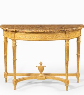 A Louis Philippe giltwood demi-lune console table main
