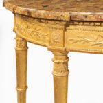 A Louis Philippe giltwood demi-lune console table close up details
