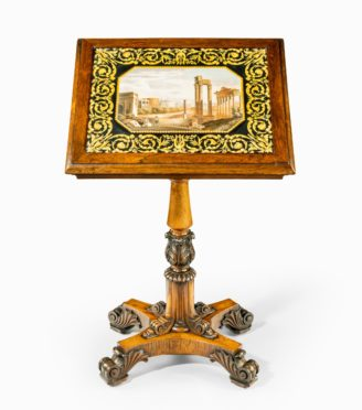 A William IV rosewood and scagliola occasional table attributed to Gillows