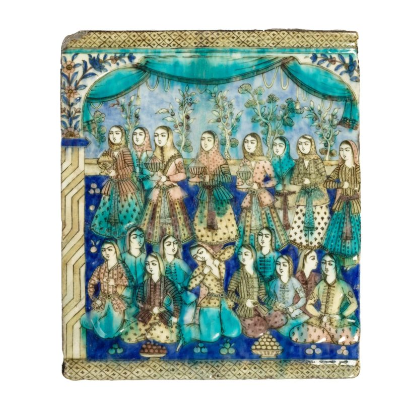 A large Qajar relief moulded pottery tile