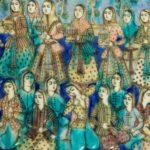 A large Qajar relief moulded pottery tile details